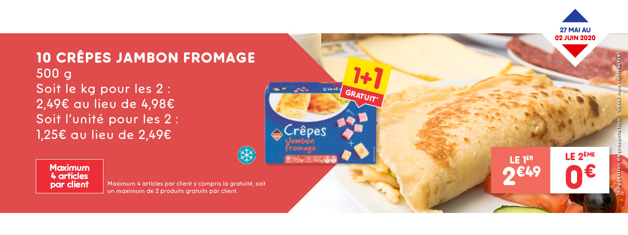 10 crêpes jambon fromage